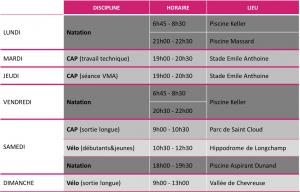 Plan entrainement RMA Triathlon Paris 201+-2017